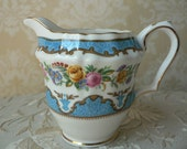 RESERVED for Alexandria Crown Staffordshire Blue Lyric Floral Creamer