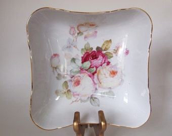 Serving Bowl with Pink Roses & Gold 1950's Antique Rose Schumann Arzberg Germany Square Vegetable Bowl  Mid Century | Cottage Chic Serving