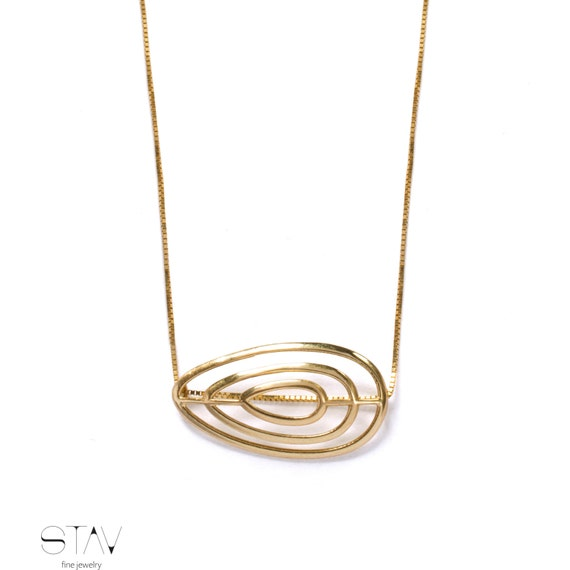 14k gold jewelry uniqe gold necklace by stavfinejewelry on