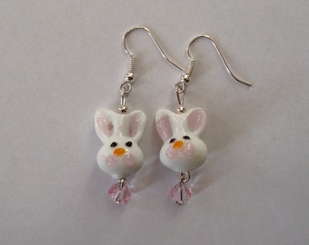 Bunny Rabbit Glass Lampwork Beads and Crystal Earrings on Silver Earwires, Easter Jewelry, Spring Earrings