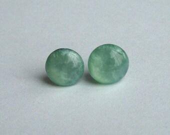 Mint Green Candy Dot Earrings Studs on Surgical Steel, Seafoam Shimmer Stud