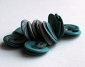 Polymer clay roundabout beads, layered discs, emerald green patterned set of 8