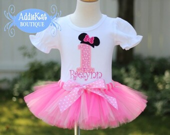 Personalized Minnie Mouse Inspired Light Pink Polka Dot Birthday Tutu Outfit