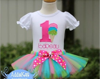 PERSONALIZED Ice Cream Cone Birthday Number Tutu Outfit