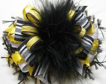 Big Funky Over the Top Hair Bow Cute Maize Yellow Black Marabou Large Fun School Uniform Spirit Wear Boutique