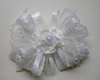 WHITE Satin & Lace Hair Bow 3.5 inch Elegant Wedding Flower Girl Communion Pageant Boutique Dressy Fancy Special Occassion