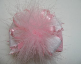 OH so Cute Petite Over the Top Princess Hair Bow Sweet Baby Pink Marabou Unique Boutique Toddler Girl Photo Prop