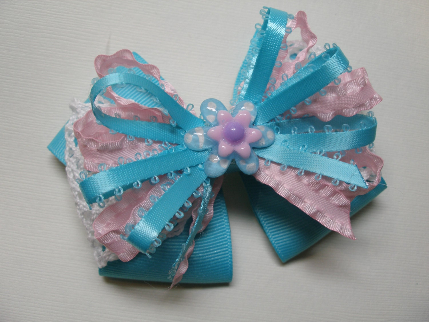 Cotton Candy Aqua Turquoise Daisy Flower Child White Lace Hair