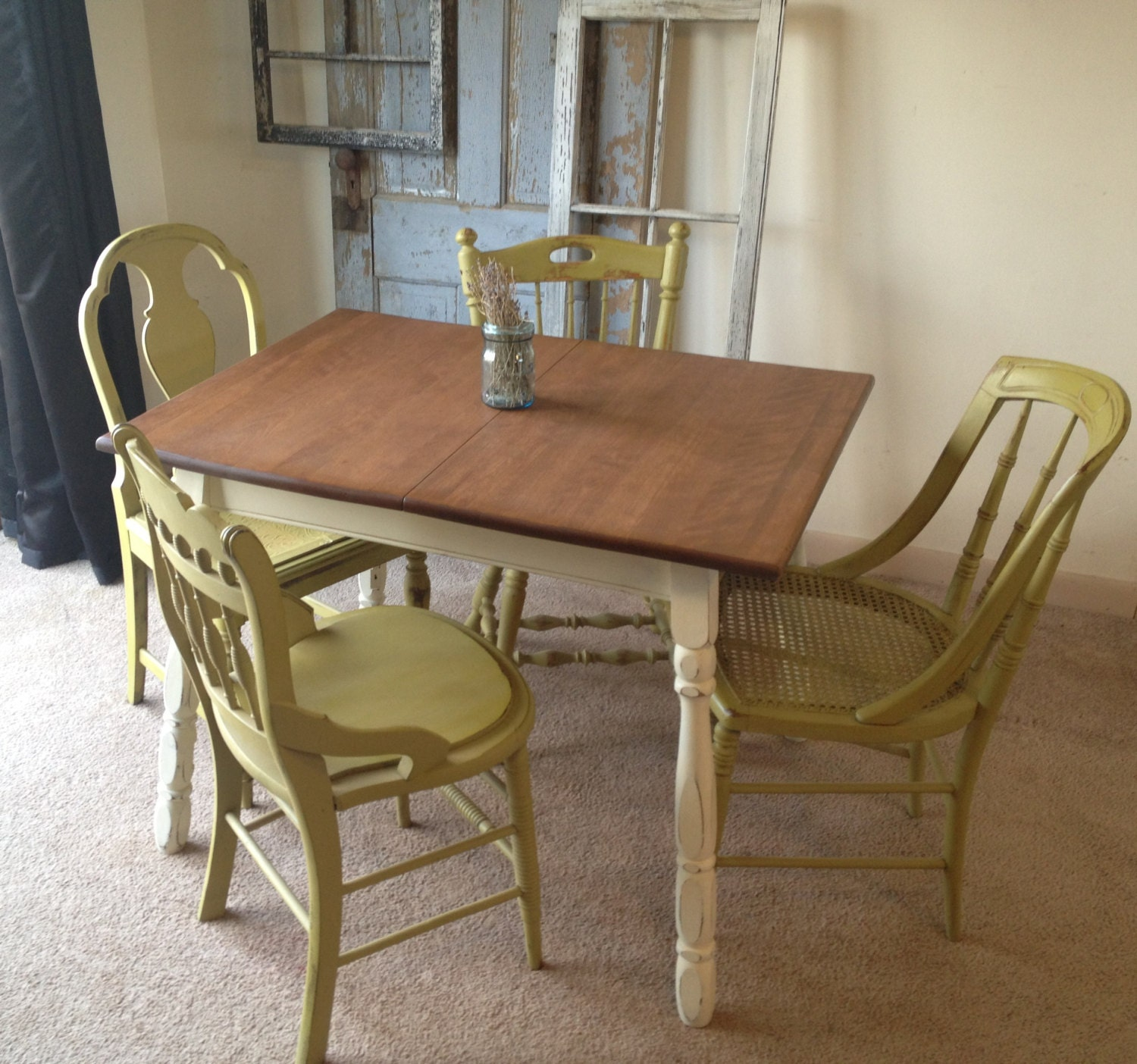 Vintage French Provincial/Country Kitchen Table with Four Miss