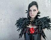 Goth feather shoulder wrap shrug in black Burlesque Fantasy Hallowen ravenc row costume Gogo