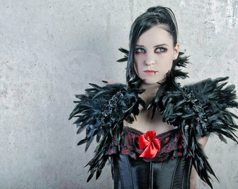 Goth feather shoulder wrap shrug in black Burlesque Fantasy Hallowen ravenc row costume Gogo