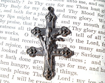 """Cross of Lorraine w/Thistles - 1 3/8"""" - Bronze - Vintage Replica - Made in the USA  (CR11)"""
