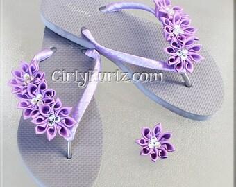 Purple Kanzashi Flip Flops, Rhinestone Flip Flops, Wedding Flip Flops, Beach Flip Flops, Wedding Accessories