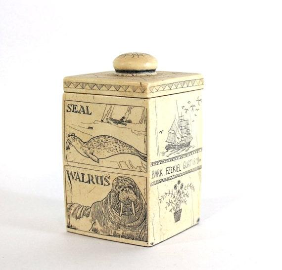 Vintage Nautical Decor Sale: Items Similar To SALE Vintage Nautical Scrimshaw Container