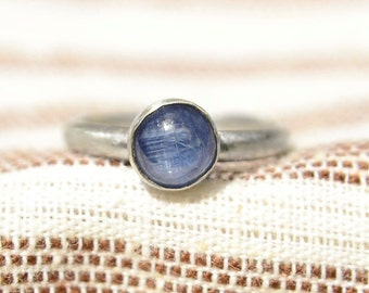Kyanite Ring, Sterling Silver Stacking Ring with Kyanite Gemstone, Bridesmaid's Gifts
