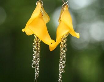Yellow Rose Petal Art Nouveau Earrings