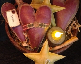 Primitive Heart and Star Bowl Fillers