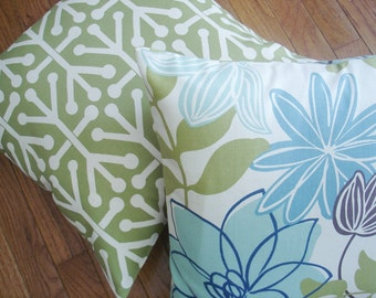 Pillow Covers. Set Of Two Pillow Covers . Natural.  Blue.  Olive Green.   18 X 18  Accent Pillows  Throw Pillows  Decorative Throw Pillows