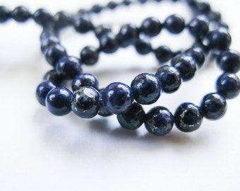 Lapis Lazuli Rounds, Smooth, AAAgems, Beads, Full Strand, 15.5 Inches, 3.5mm