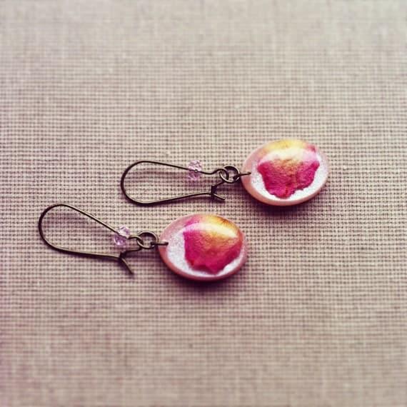 SALE Real Pink Rose Petal Resin Earrings Resin Jewelry Resin Earrings Nature Inspired Jewelry Botanical Jewellery Rustic Jewelry