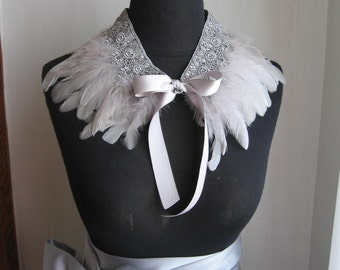 Gray Feather Collar with Lace Detail- Convertible