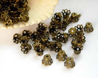 50 Antique Bronze Filigree Flower Bead Caps - 18-BC-2