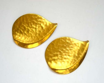 2 Hammered Brass Tear Drop Charms - 21-31-11