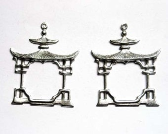 2 Antiqued Silver Pagoda Charms - 21-33-3
