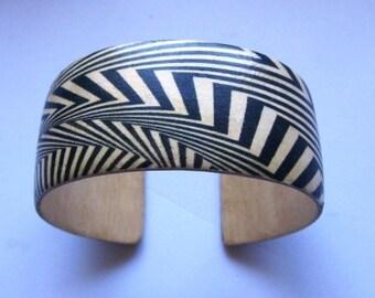 Bridget Riley Op Art -- adjustable wood cuff bracelet