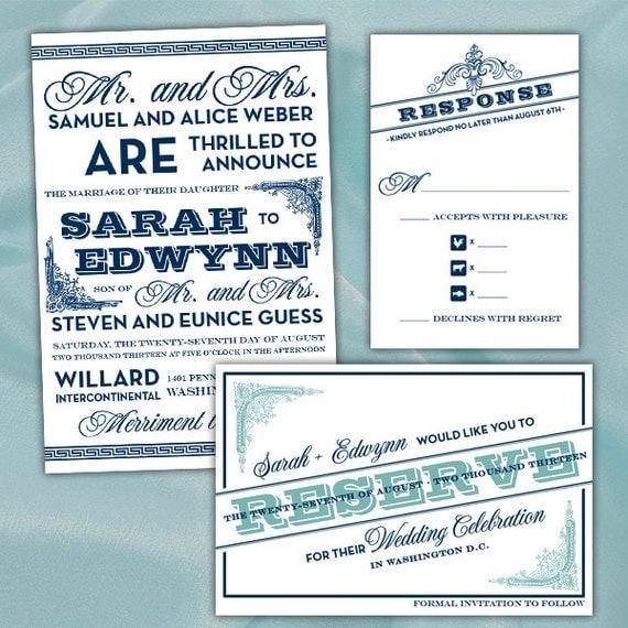 Handmade Vintage Wedding Invitations: Custom Vintage Typography Wedding Invitations & Matching Save