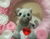 Valentine Wreath, Grey Cat 100% to Benefit Animal Rescue FREE Shipping