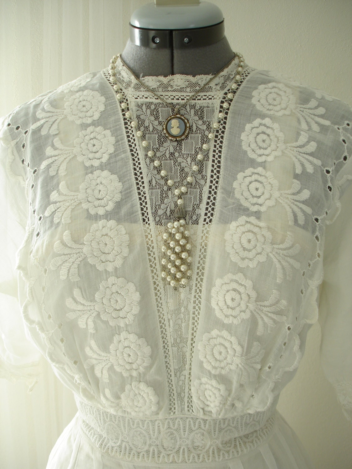 Antique 1800's Embroidered Cotton Day/Wedding Dress