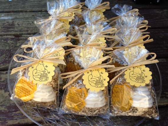 Honeycomb soap (Tags and ribbons included) natural honey and oatmeal, Winnie pooh, party favors, baby shower