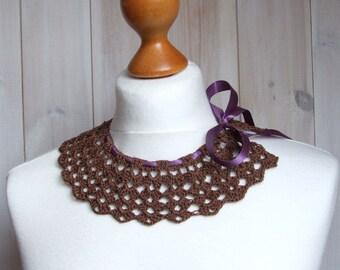Crocheted collar taupe Vintage inspired collar detachable collar handmade