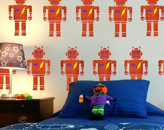 ROBOT wall and decorating painting stencil - great for home decorating and arts and crafts - size option -Ideal Stencils Ltd