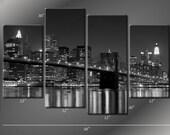 Framed Hugh 4 Panel Canvas Art New York NY Manhattan Brooklyn Bridge Giclee Canvas Print - Ready to Hang