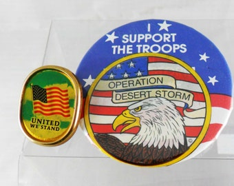 Vintage Two Patriotic Pin Back Operation Desert Storm United We Stand