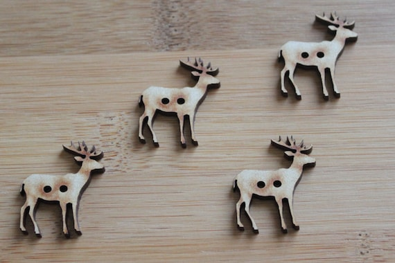 4 Craft Wood Elk Buttons, 3 cm Wide, Laser Cut Wood