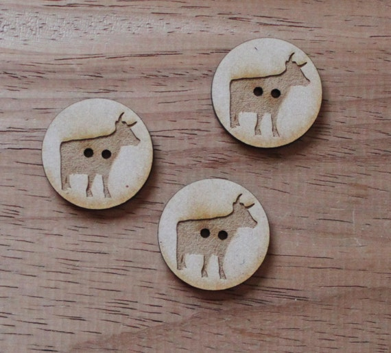 3 Craft Wood Cow Farmyard.Round Buttons, 3 cm Wide, Laser Cut Wood