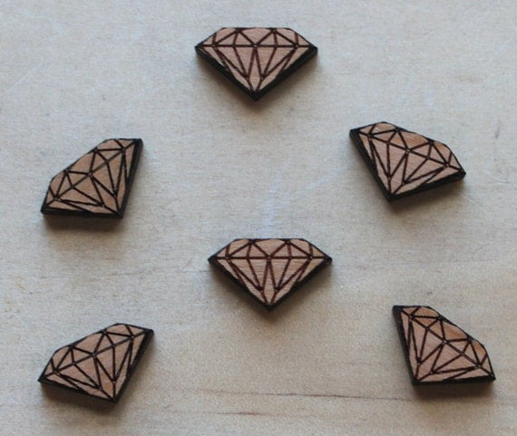 Laser Cut Supplies-8 Pieces.Diamond Charms - Laser Cut Wood Diamond -Earring Supplies- Little Laser Lab Sustainable Wood Products