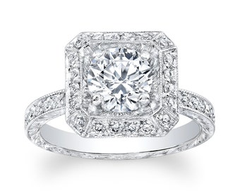 Ladies 14kt white gold antique diamond and white sapphire engagement ring 0.64 ctw G-VS2 diamonds