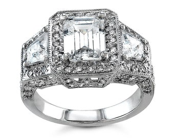 Ladies 14kt antqiue pave diamond engagement ring 1.50 ctw G-VS2 diamonds and 1.50ct White Sapphire center