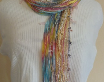 Pretty In PASTELS Colored Scarf Made With Specialty Yarns - Yellow, Pink and Light Blue Chic Yarns - Female Gift