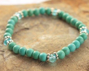 Bead Stretch Stack Bracelet Blue Turquoise, Blue Crystal and Silver
