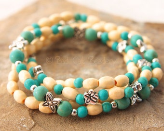 Beaded Stretch Bracelet Stack Blue Green Turquoise White Cream Wood Beads Silver