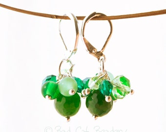 Emerald Greens Cluster Earrings Emerald Greens Grayed Jade Tender Shoots Green