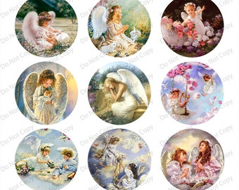 INSTANT digital Download Angels - 1-inch Round Bottle Cap Images 4 x 6 in Digital Sheet, 1 inch circles, rounds, 1 inch digital images