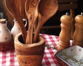 Olive wood Spoon or utensil holder (4 pieces, handmade)