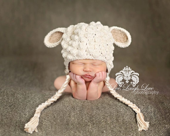 Crochet Pattern For Baby Lamb Hat : Crochet Little Lamb Hat Size 0-3 mo 100% by ...