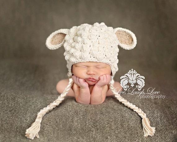 Free Crochet Pattern Baby Lovey : Crochet Little Lamb Hat Size 0-3 mo 100% by ...